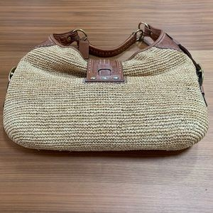 Coach Bags - Vintage Coach Millie Straw / Leather Hobo Handbag